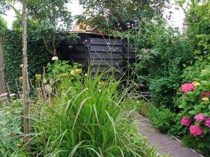 hout-klikohok geintegreerd in de tuin